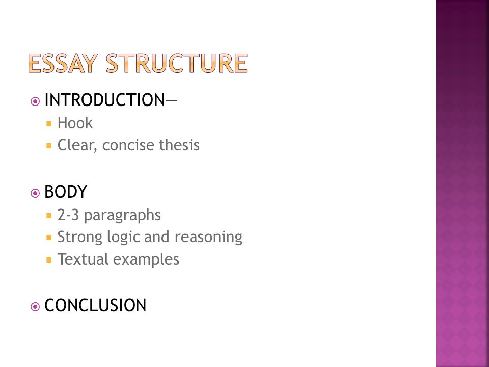 essay structure introduction body conclusion An essay is only an essay when it follows a proper structure before you start writing an essay, you need to understand and try drafting with a proper format writing good essays is an important part of every student's academic life and they often require essay help to ensure that they are submitting their best.