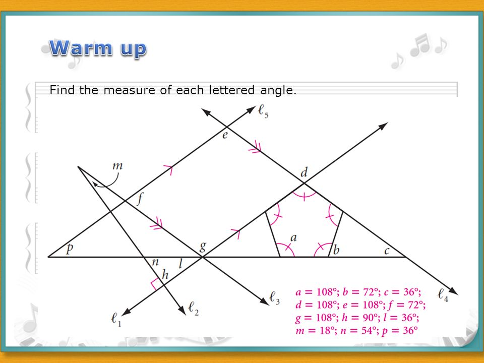 Measure Of An Angle : Warm up find the measure of each lettered angle ppt