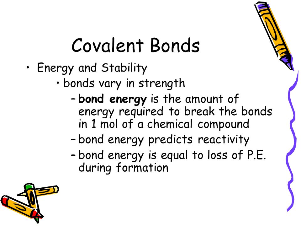 Covalent Bonds Energy and Stability bonds vary in strength