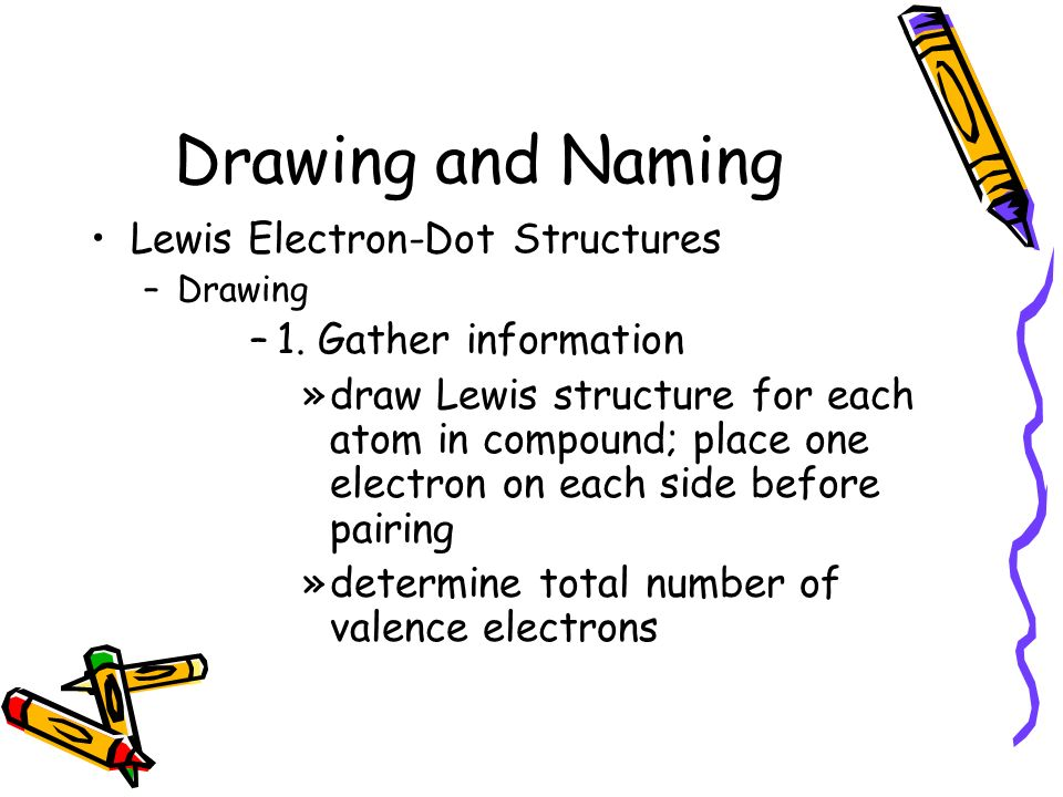 Drawing and Naming Lewis Electron-Dot Structures 1. Gather information