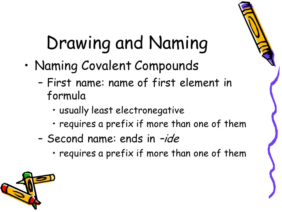 Drawing and Naming Naming Covalent Compounds