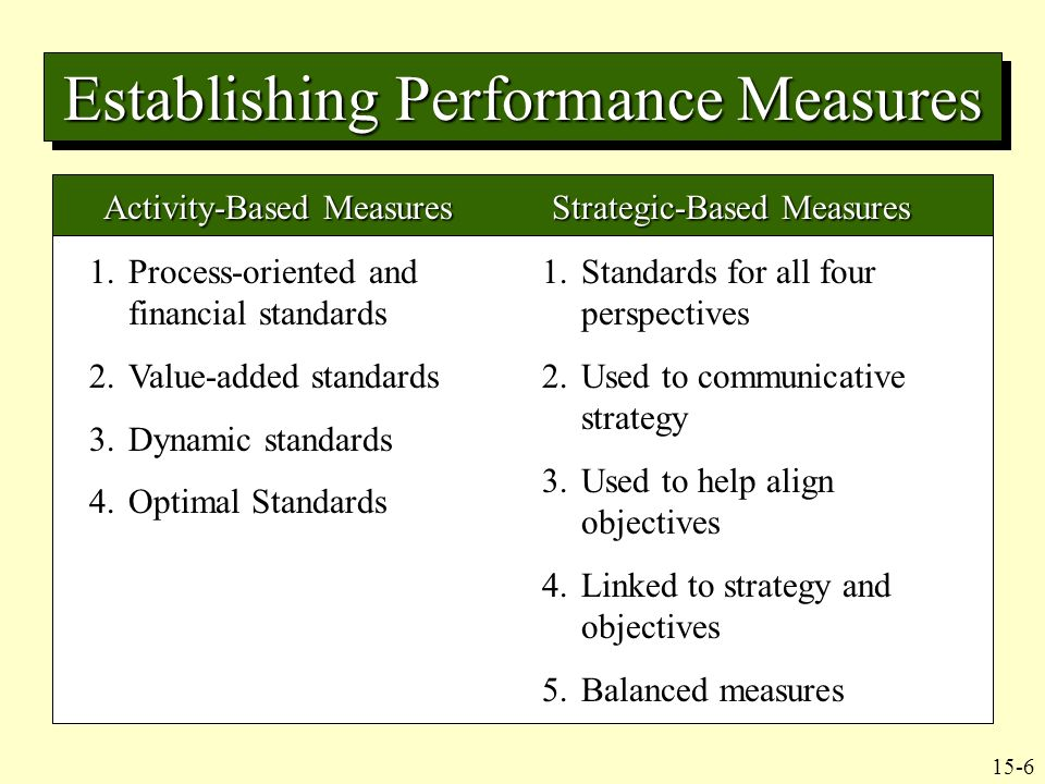 control mechanisms and performance measurement standards Chapter 18 foundations of control  the use of external market mechanisms to establish the standards used in  to performance measurement was.
