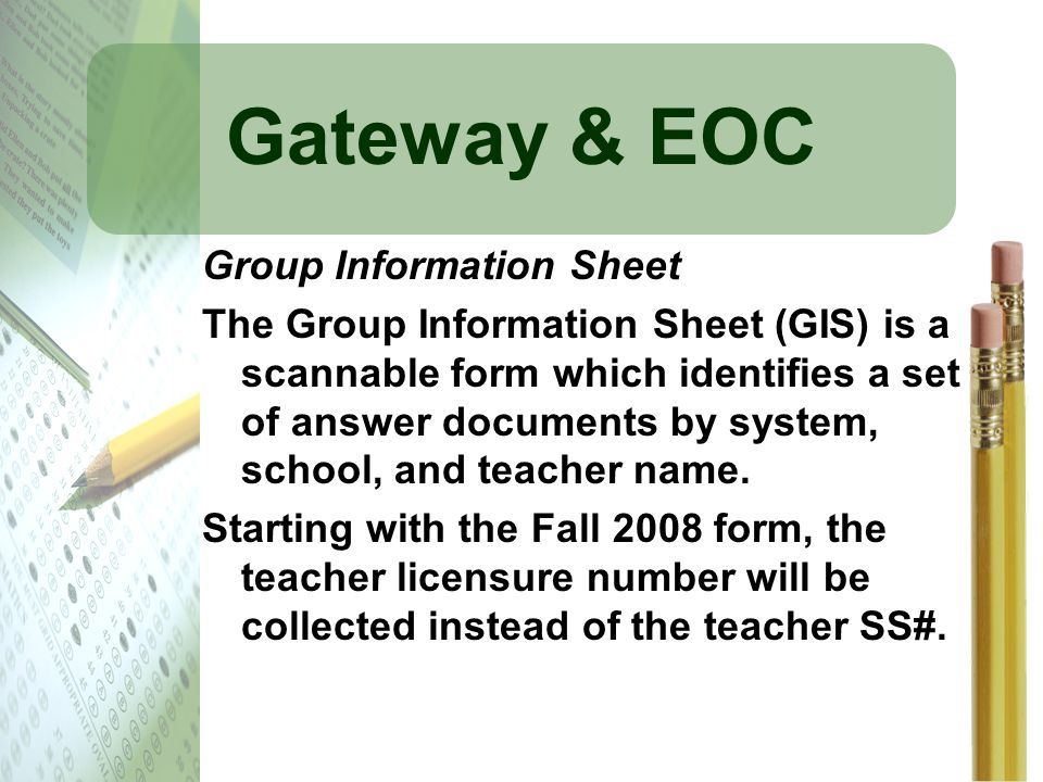 Gateway & EOC Group Information Sheet