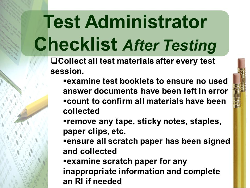 Test Administrator Checklist After Testing