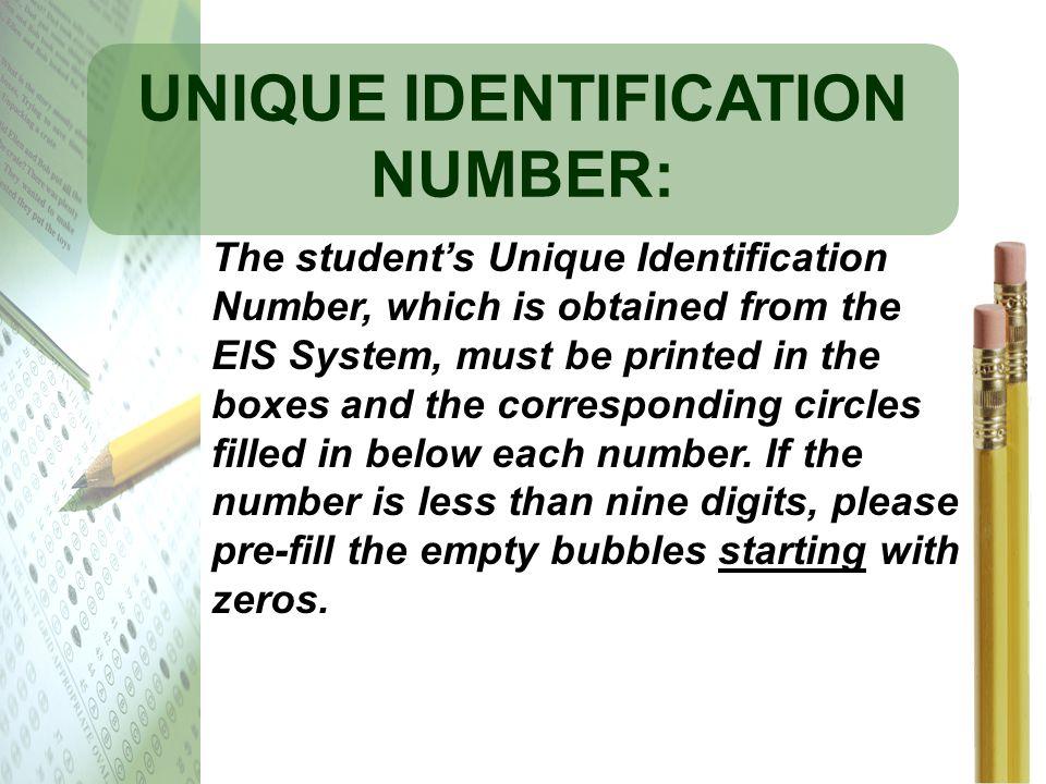 UNIQUE IDENTIFICATION NUMBER: