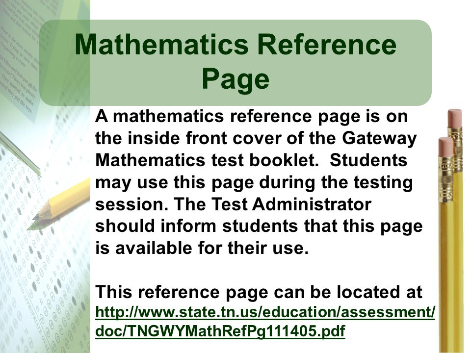Mathematics Reference Page