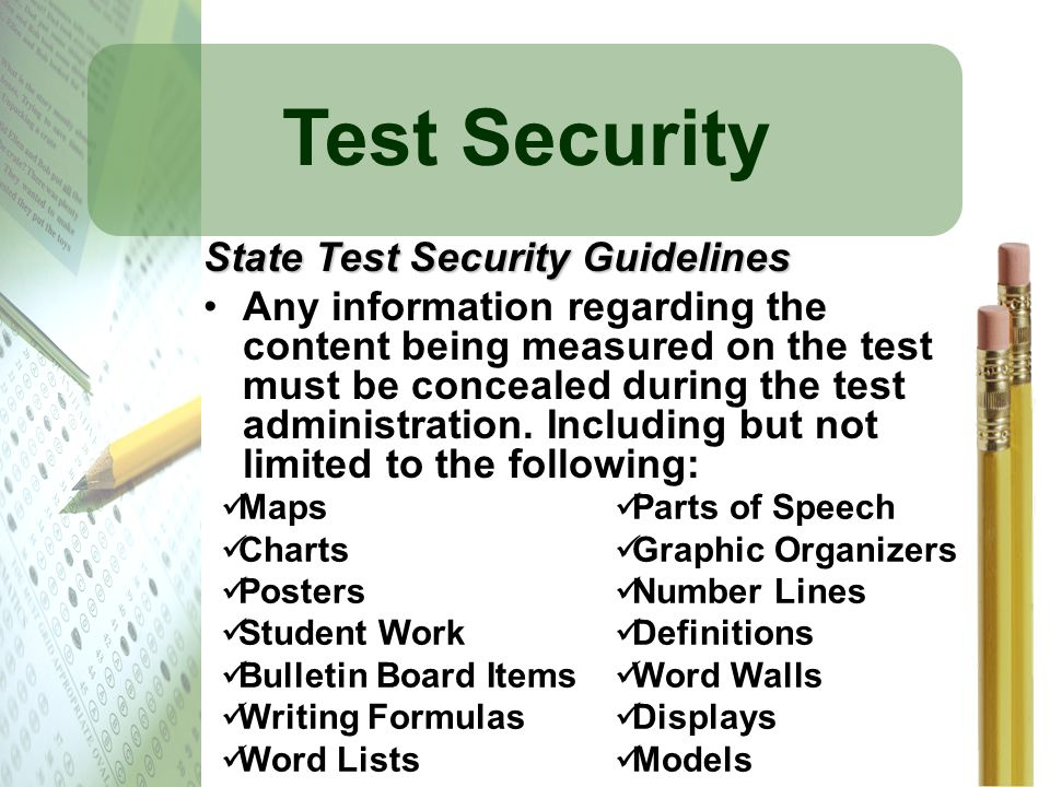 Test Security State Test Security Guidelines