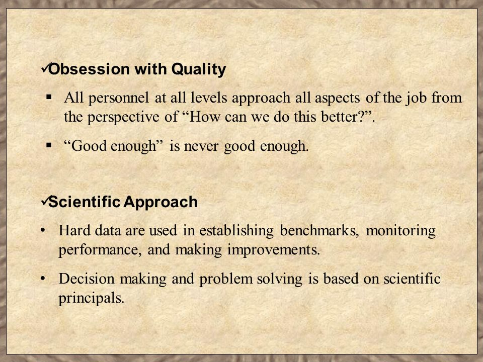 Obsession with Quality