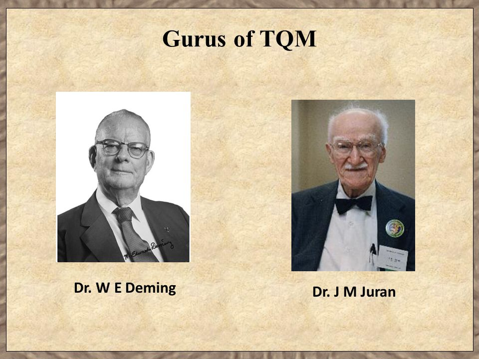 Gurus of TQM Dr. W E Deming Dr. J M Juran