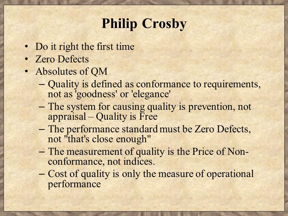 Philip Crosby Do it right the first time Zero Defects Absolutes of QM