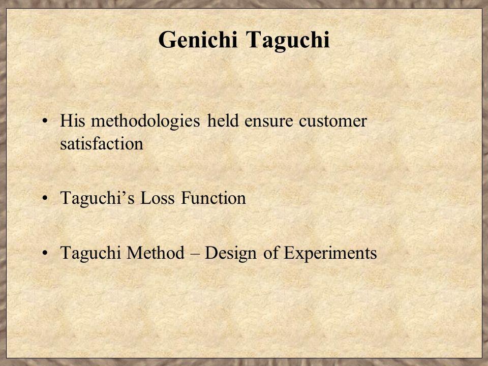 Genichi Taguchi His methodologies held ensure customer satisfaction
