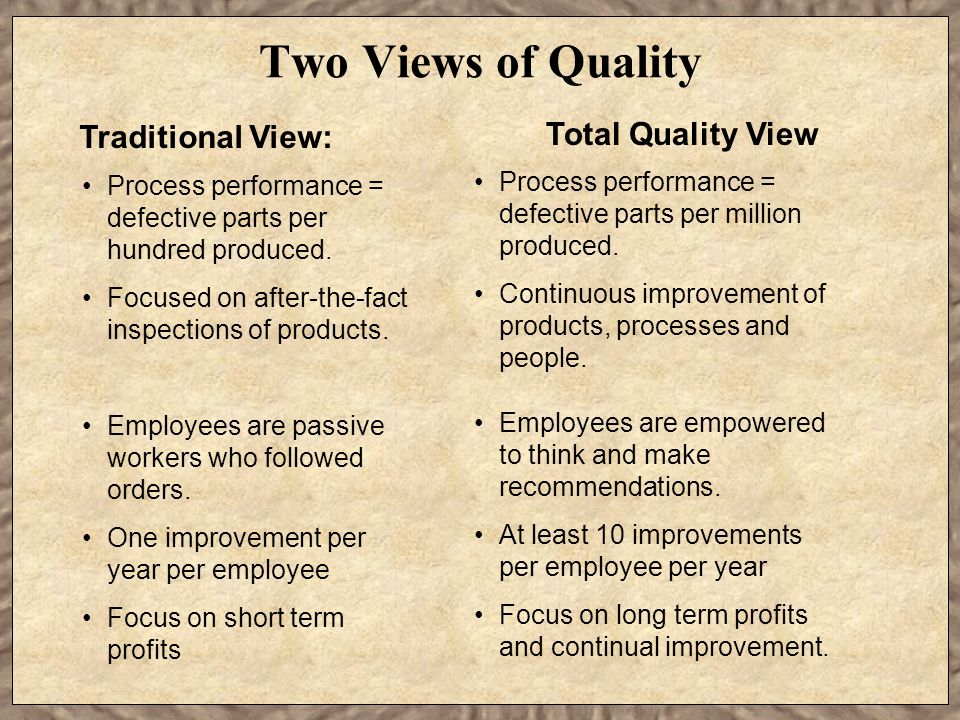 Two Views of Quality Total Quality View Traditional View: