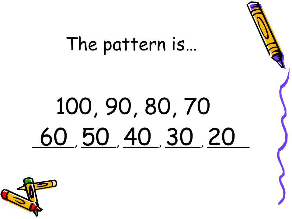 The pattern is… 100, 90, 80, 70 60 50 40 30 20 ______, _____, _____, _____, ______