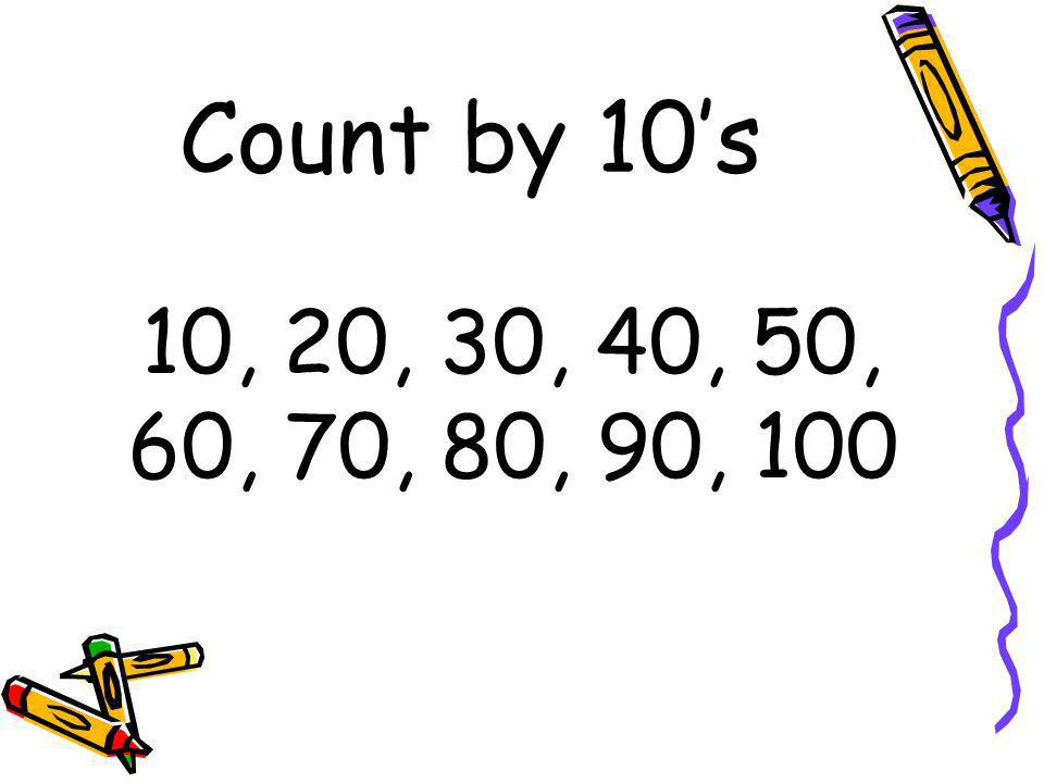 Count by 10's 10, 20, 30, 40, 50, 60, 70, 80, 90, 100