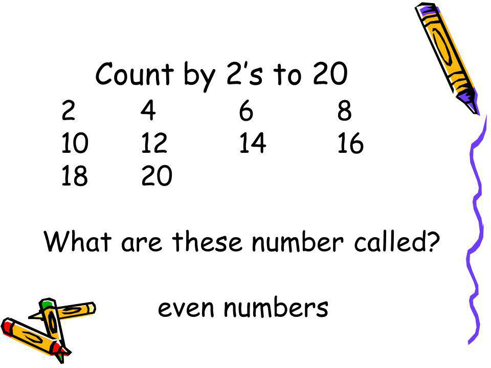 Count by 2's to 20 10 12 14 16 18 20 What are these number called