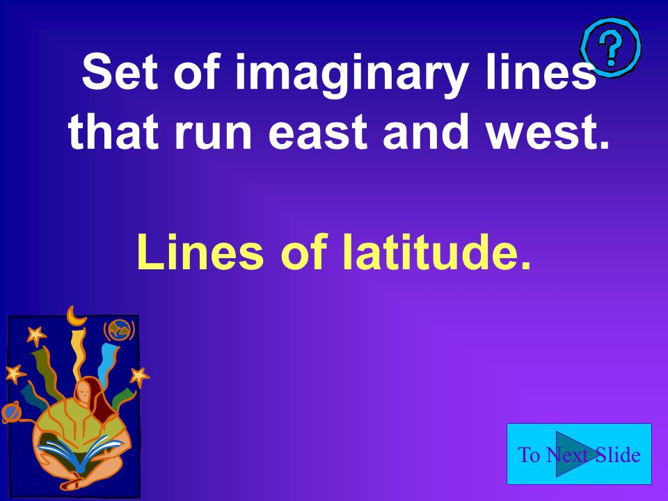 Set of imaginary lines that run east and west.