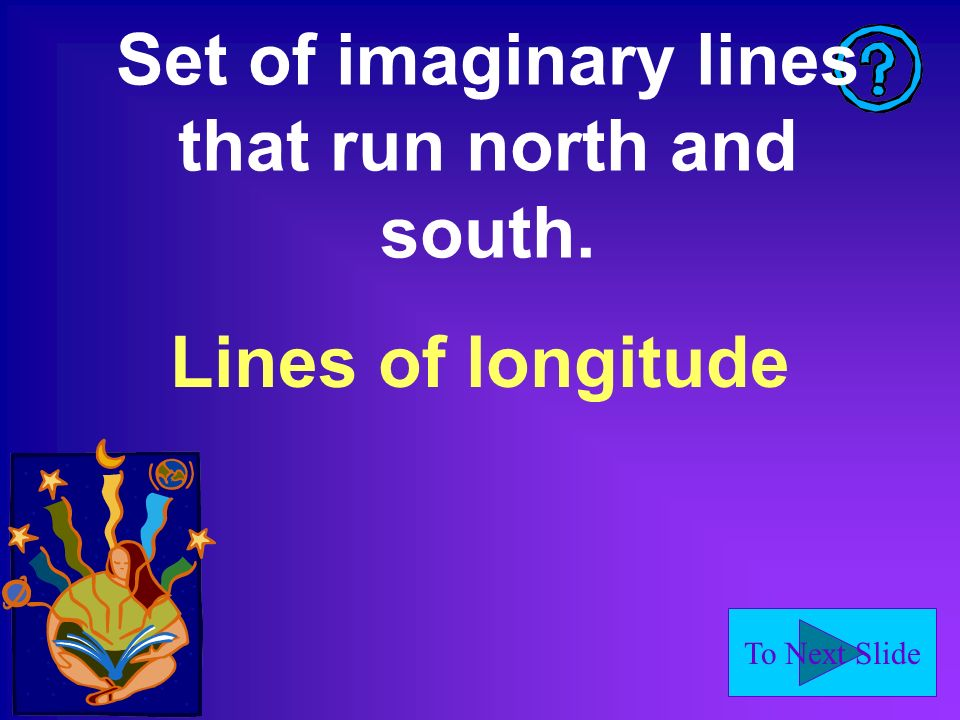 Set of imaginary lines that run north and south.