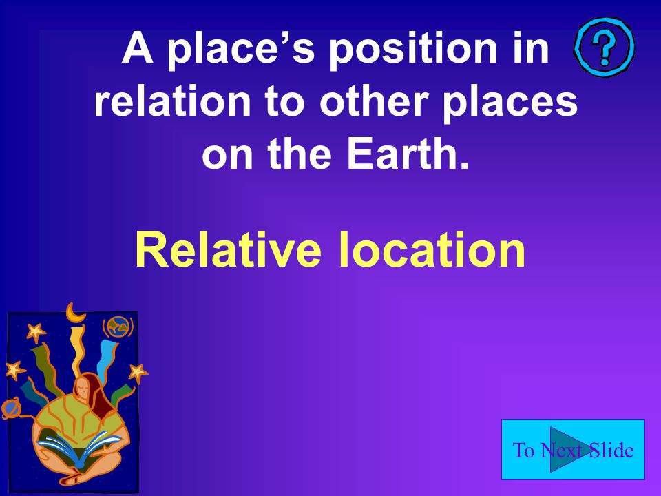 A place's position in relation to other places on the Earth.