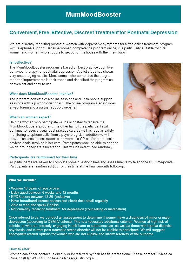 MumMoodBooster Convenient, Free, Effective, Discreet Treatment for Postnatal Depression.