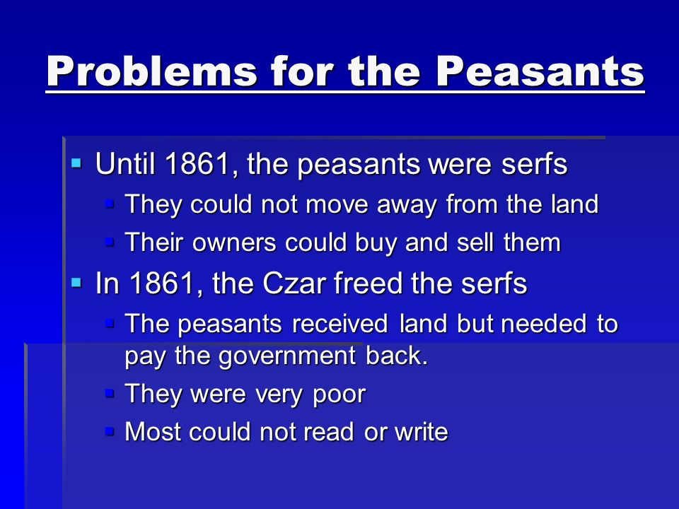 Problems for the Peasants