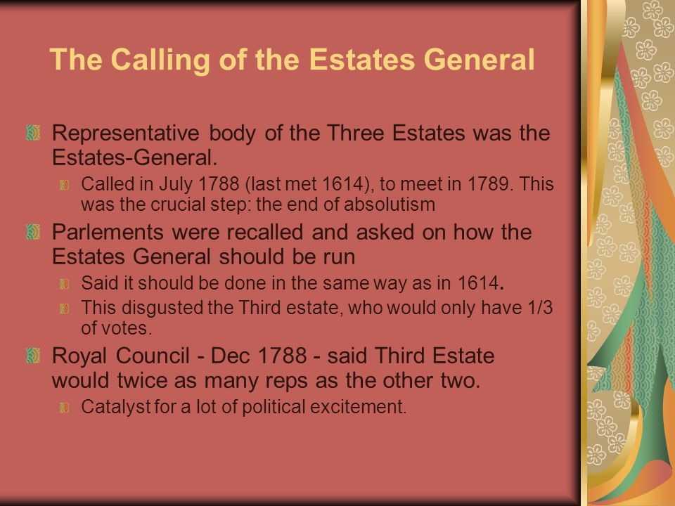 an overview of the calling of the estates general June 23 represented a defeat for necker, who until the council meeting of the previous evening had hoped that the king would remain above the struggle between the aristocracy and the the royal session took place in the meeting room of the estates general at versailles and lasted not much longer than half an hour.