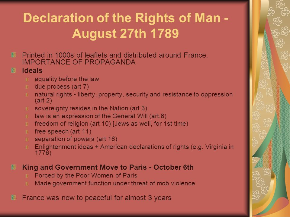the importance of the declaration of the rights of man The declaration of the rights of man one is now in a position to become acquainted with these exceptionally important documents the french declaration of.