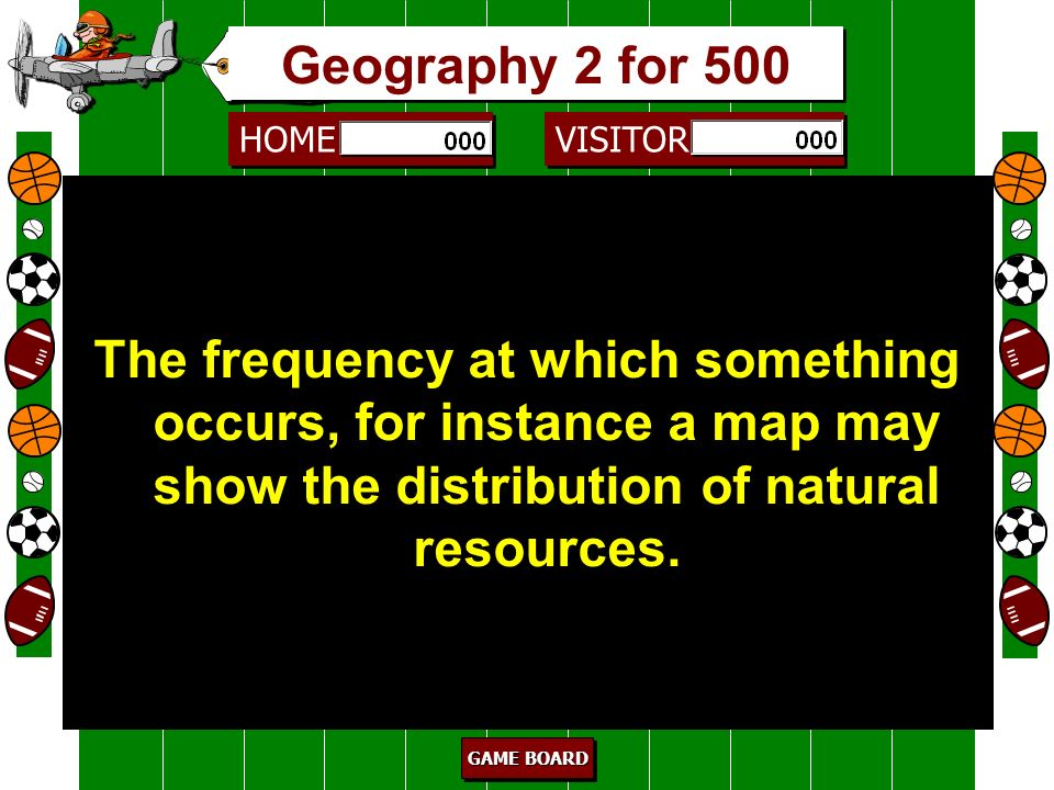 Geography 2 for 500 The frequency at which something occurs, for instance a map may show the distribution of natural resources.