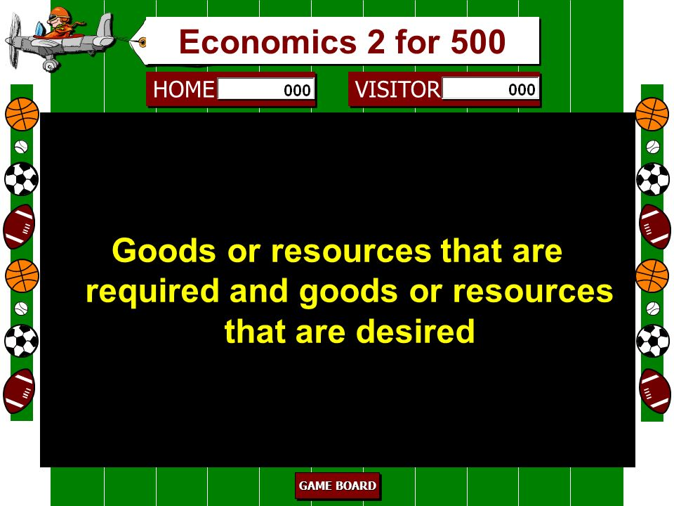 Economics 2 for 500 Goods or resources that are required and goods or resources that are desired. 500.
