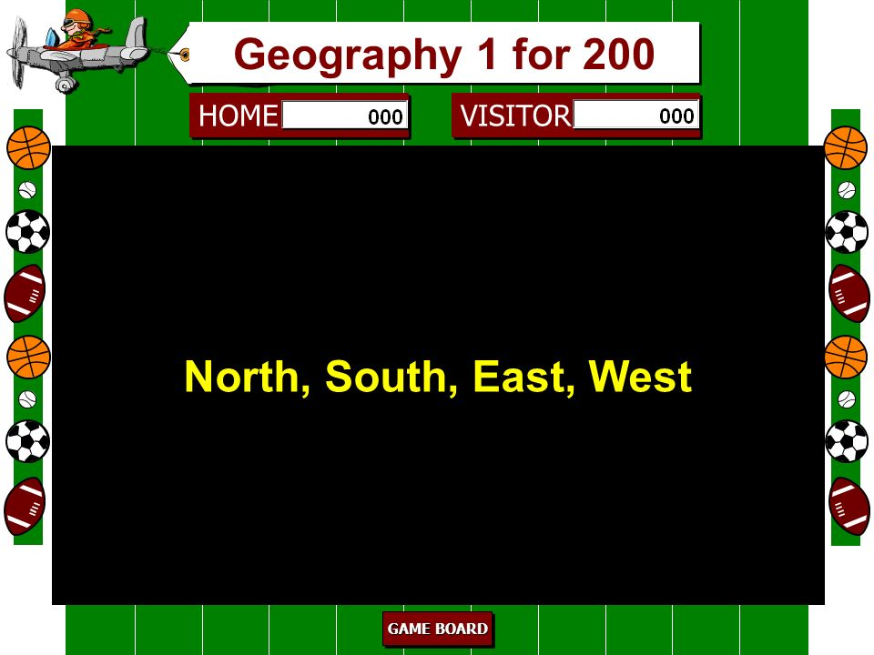 Geography 1 for 200 North, South, East, West 200 Cardinal directions