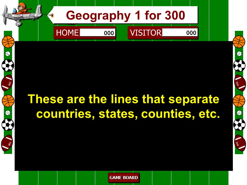 These are the lines that separate countries, states, counties, etc.