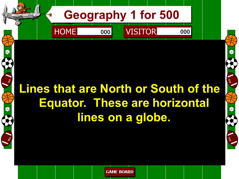 Geography 1 for 500 Lines that are North or South of the Equator. These are horizontal lines on a globe.