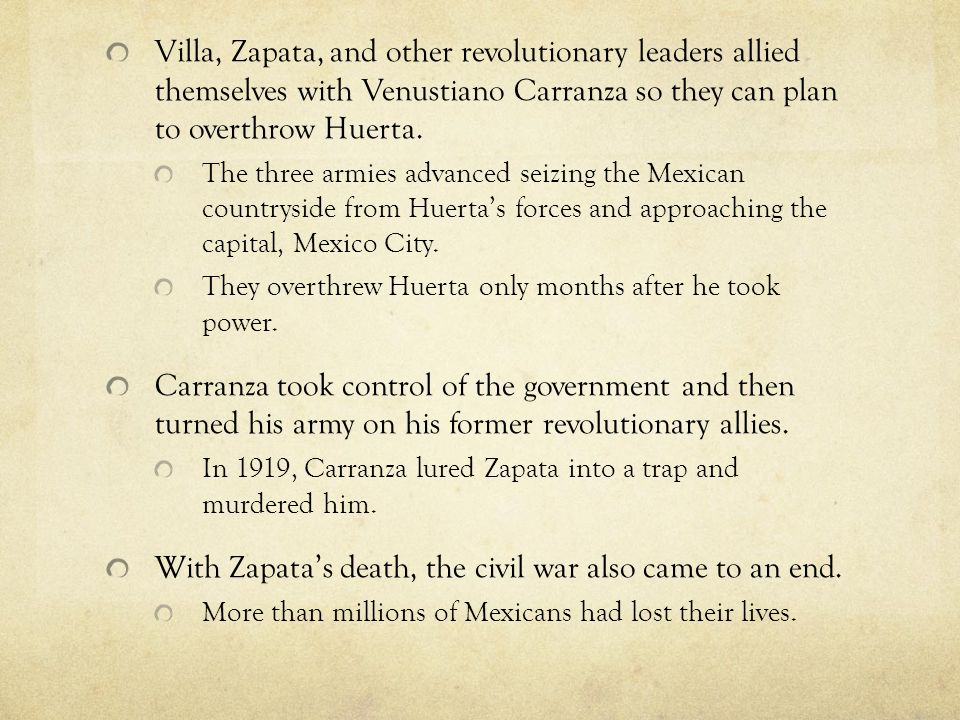 With Zapata's death, the civil war also came to an end.
