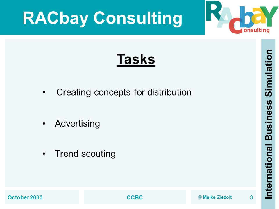 Tasks Creating concepts for distribution Advertising Trend scouting