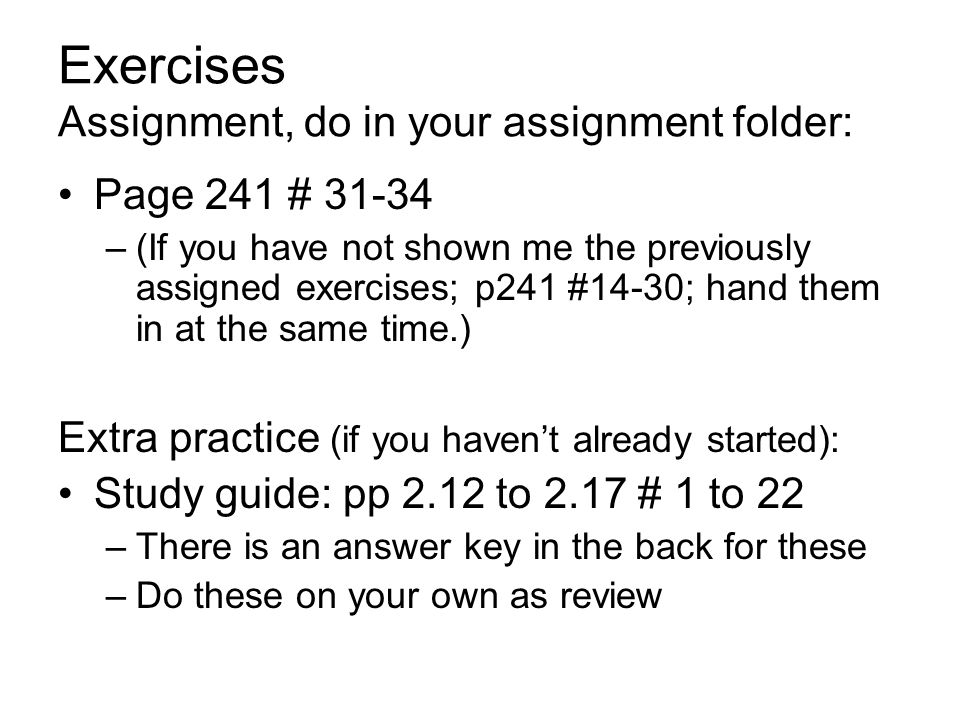 Exercises Assignment, do in your assignment folder: