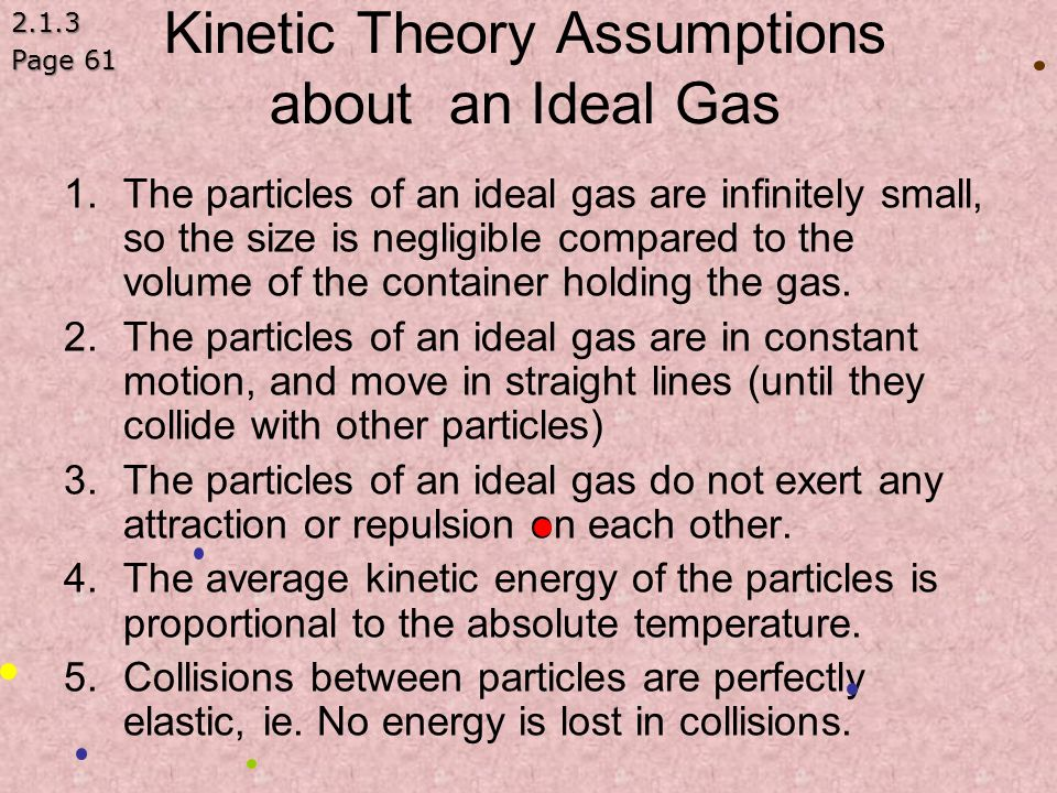 Kinetic Theory Assumptions about an Ideal Gas