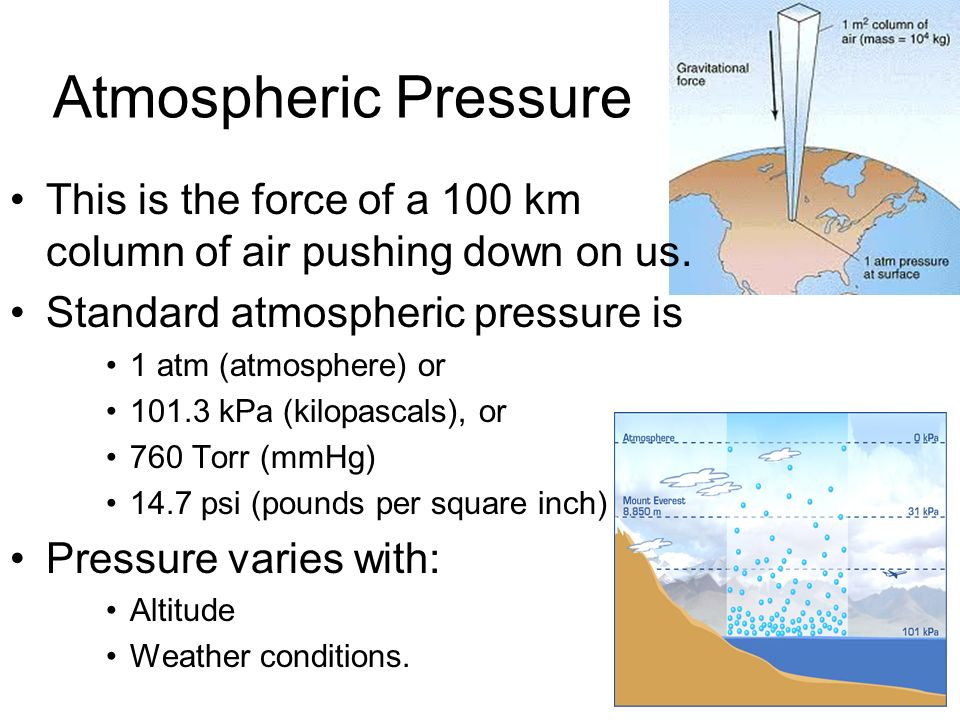 gases and atmospheric pressure Molecular definition of pressure from the kinetic theory of gases striking the wall divided by the area of the wall is defined to be the pressure.