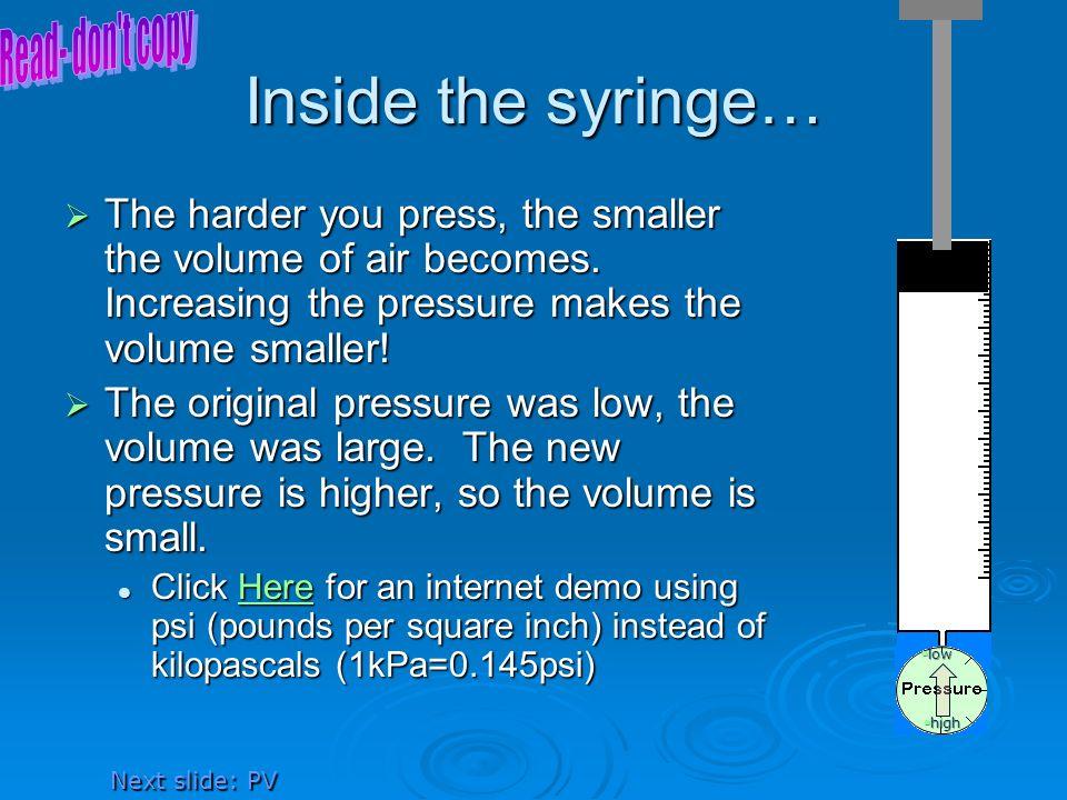 Inside the syringe… Read- don t copy