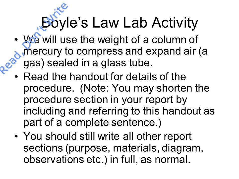Boyle's Law Lab Activity