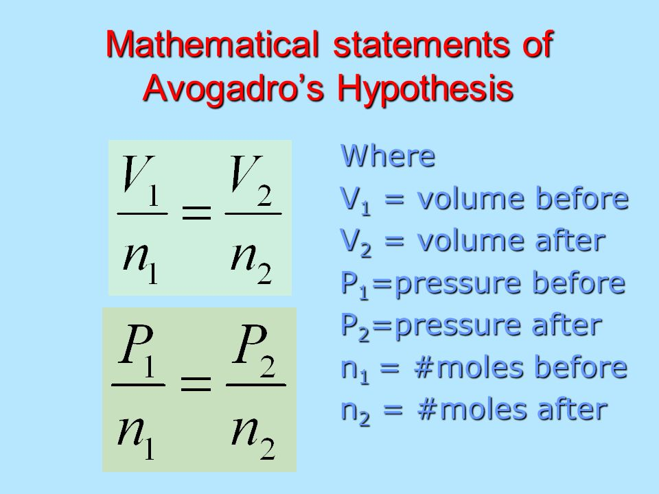 Mathematical statements of Avogadro's Hypothesis