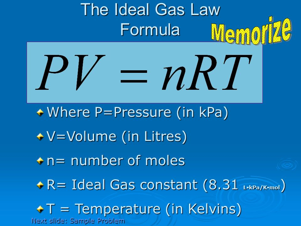 The Ideal Gas Law Formula