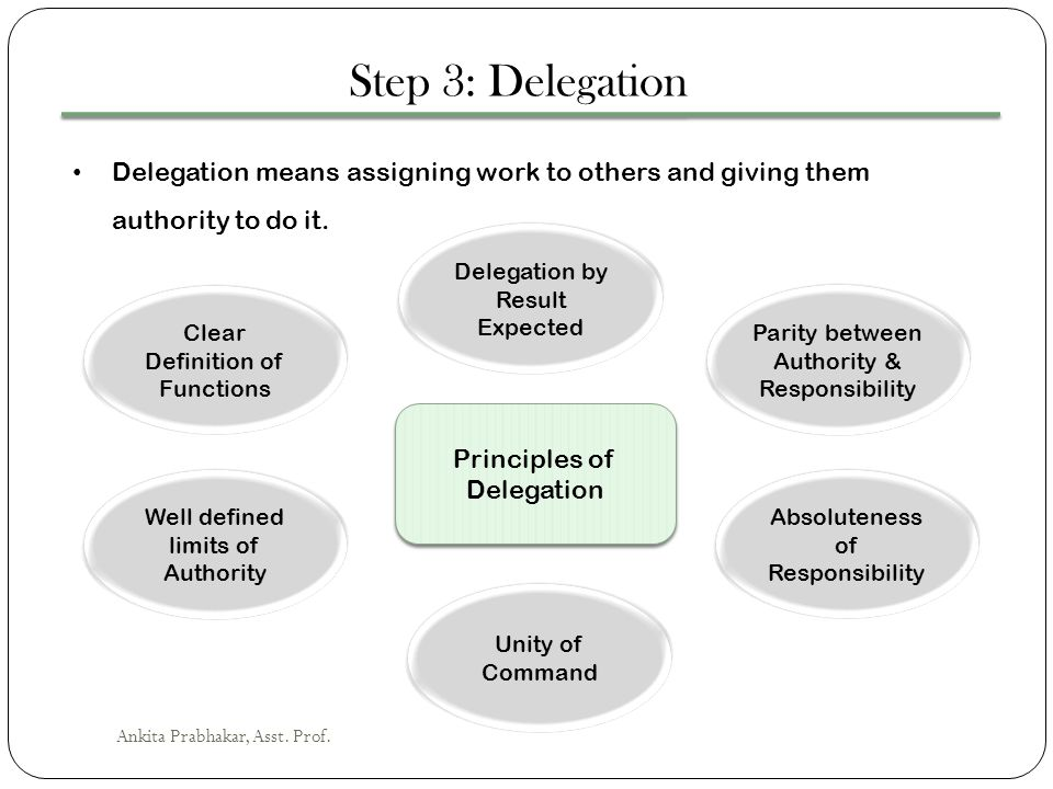 Step 3: Delegation Delegation means assigning work to others and giving them authority to do it. Delegation by Result Expected.