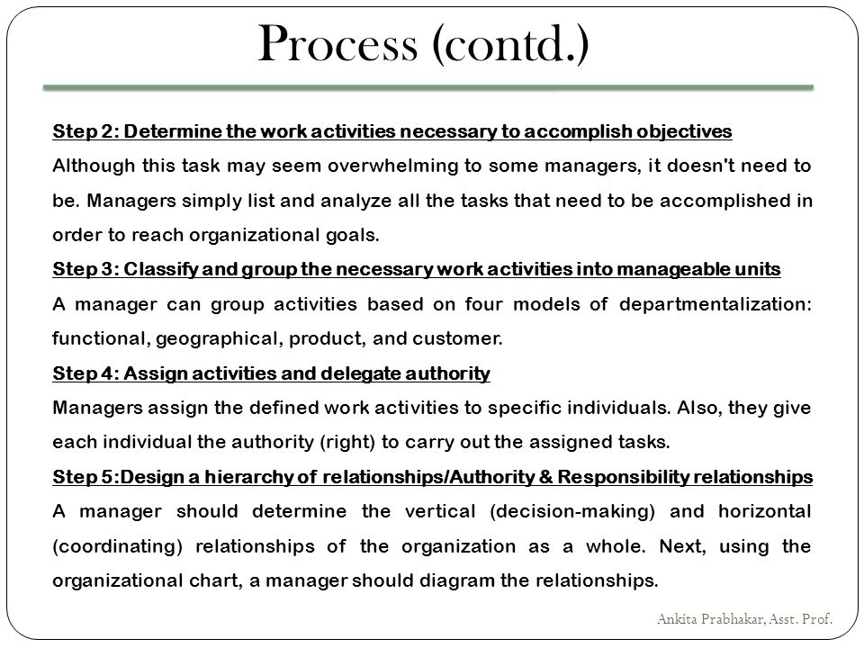 Process (contd.) Step 2: Determine the work activities necessary to accomplish objectives.