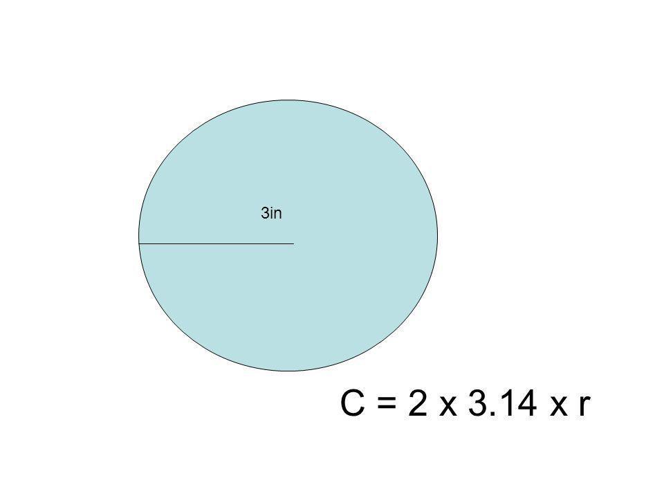 3in C = 2 x 3.14 x r