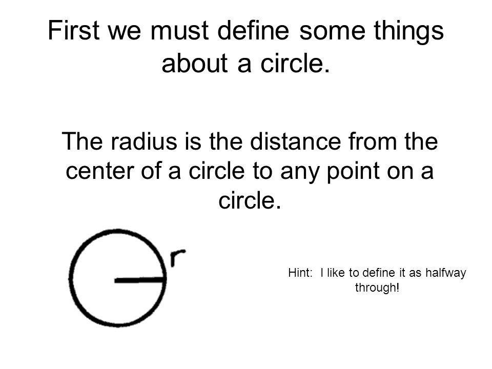 First we must define some things about a circle.