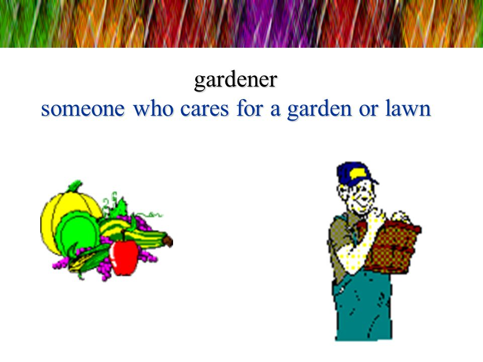 gardener someone who cares for a garden or lawn