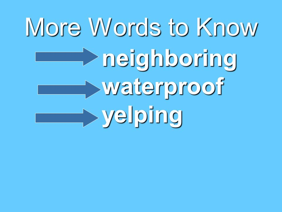 More Words to Know neighboring waterproof yelping