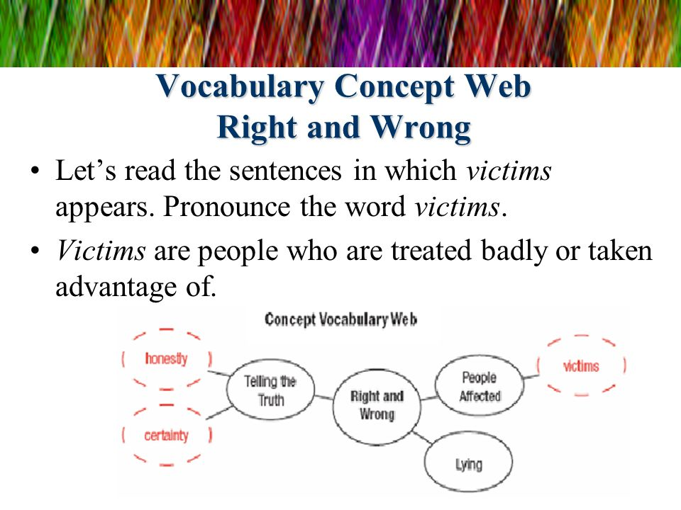 Vocabulary Concept Web Right and Wrong