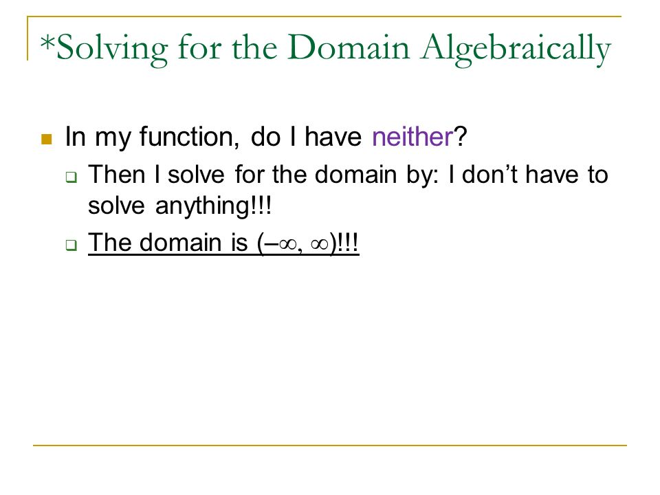 how to find domain algebraically