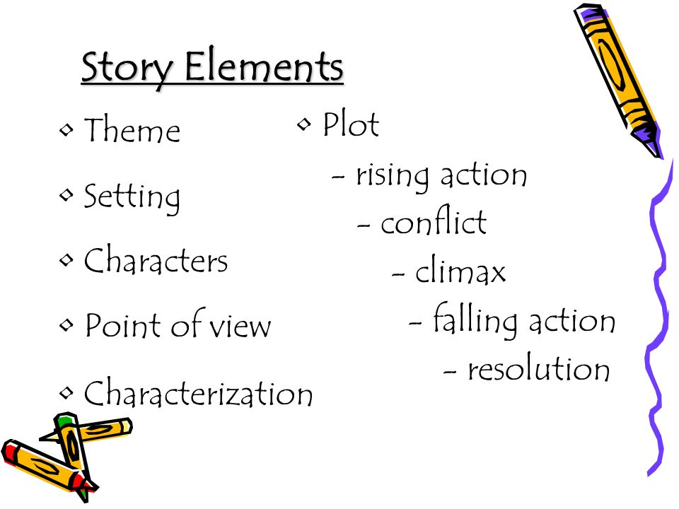 Story Elements Plot Theme - rising action Setting - conflict