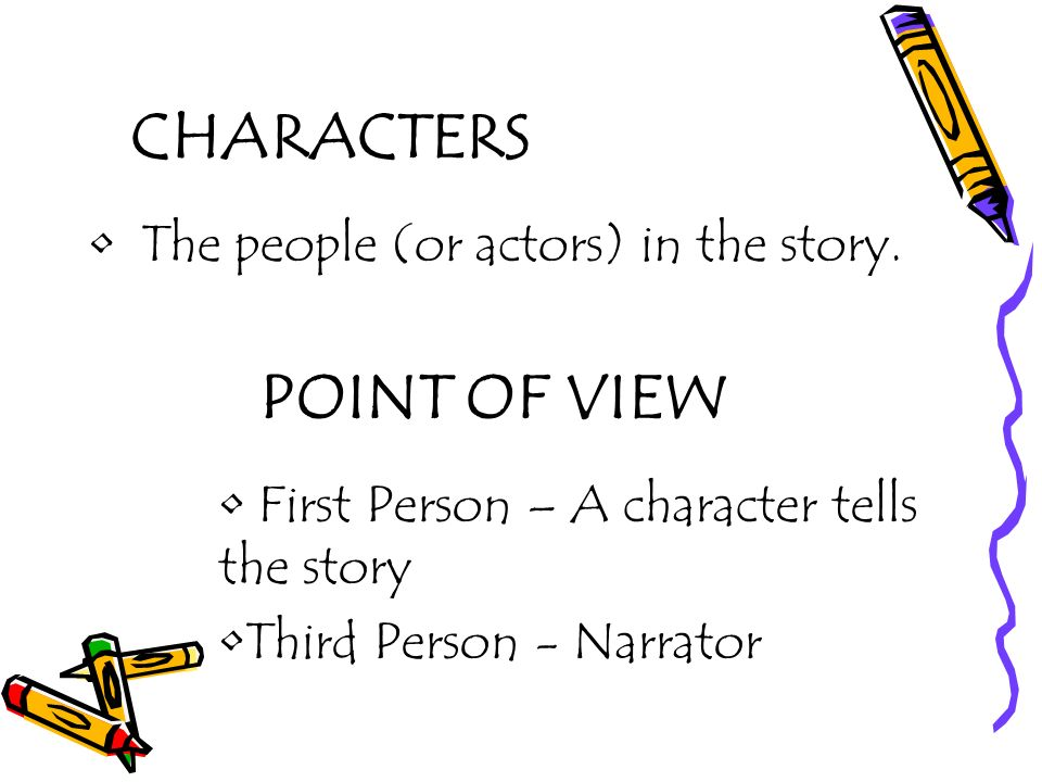 CHARACTERS POINT OF VIEW The people (or actors) in the story.